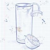 Gin Fizz coctail på en anteckningsboksida vektor illustrationer