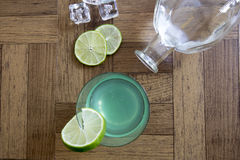 Gin gimlet cocktail with bottle Stock Photo