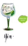 Gin with ice and lime slice. Watercolor, hand drawn - vector Illustration Royalty Free Stock Photos