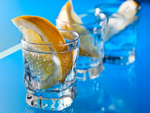 Gin with lemon on a glass table Stock Photos