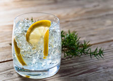 Gin with lemon and ice Stock Photography