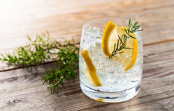 Gin with lemon and ice Royalty Free Stock Photo