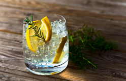 Gin with lemon and ice Stock Image