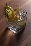 Gin with lemon and juniper twig Royalty Free Stock Images