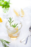 Gin,lemon, rosemary fizz, cocktail. With honey and fresh herbs stock image