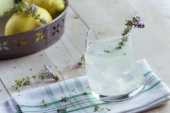 Gin lemonade with thyme Stock Photo