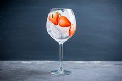 Gin med jordgubben och is i vinexponeringsglas royaltyfri foto