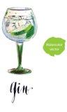 Gin mit Eis- und Kalkscheibe vektor abbildung