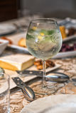 Gin Tonic. And antipasto background Stock Photography