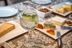Gin Tonic. And antipasto background Royalty Free Stock Photography