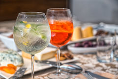 Gin Tonic and Aperol Spritz. Drinks Stock Photography