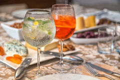 Gin Tonic and Aperol Spritz royalty free stock photo