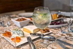 Gin Tonic. Closeup shot with antipasto background Royalty Free Stock Photos