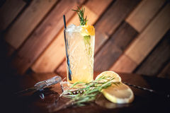 gin tonic cocktail, alcoholic drink for hot summer days. Refreshment cocktail with rosemary, ice and lime. Stock Photo
