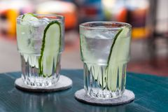 Gin tonic cocktail with cucumber Royalty Free Stock Photography