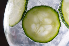 Gin tonic cocktail with cucumber and ice  macro closeup Stock Image