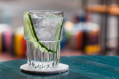 Gin tonic cocktail with cucumber Royalty Free Stock Photos
