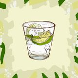 Gin and Tonic cocktail illustration. Alcoholic classic bar drink hand drawn vector. Pop art vector illustration