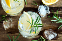 Gin Tonic Cocktail with lemon, rosemary Stock Images