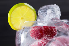 Gin tonic cocktail with raspberry and ice macro closeup Royalty Free Stock Photography