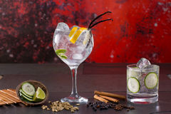 Gin tonic cocktail with spices in red grunge background Royalty Free Stock Photos