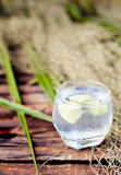 Gin tonic in glass with  ice cubes and lime slice Royalty Free Stock Photos