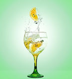 Gin Tonic. Glass of gin and tonic with lemon Stock Images