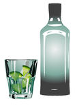 Gin and tonic. In glass with lime isolated on white Royalty Free Stock Photos