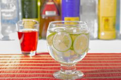A Gin tonic. With lemon  and ice Stock Photo