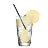 Gin and tonic with lemon isolated on white background. Classic alcohol cocktail Royalty Free Stock Images