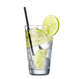 Gin and tonic with lime isolated on white background. Classic alcohol cocktail Stock Photos