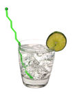 Gin and Tonic, Lime, Swizzle Stick. Gin and tonic with lime and swizzle stick.  Isolated on white background with clipping path Royalty Free Stock Image