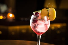 Gin Tonic. With mix of fruits, cocktail night club stock image