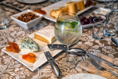 Gin Tonic. And sides of antipasto Royalty Free Stock Image