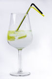 Gin and tonic with straw on white Royalty Free Stock Photos