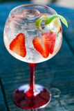 Gin tonic with strawberries. Royalty Free Stock Images