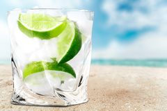 Gin. Tonic vodka lime ice cocktail white royalty free stock photos
