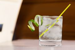 Gin Tonic Water. Cocktail Glass Ice Drink Lime Alcohol royalty free stock photos