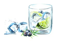 Gin tonik with ice cubes, lime slice and juniper berries. Watercolor hand drawn illustration  isolated on white background. Gin tonik with ice cubes, lime slice Stock Photo