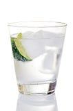 Gin und Stärkungsmittel auf Eis mit Kalk-Keil Lizenzfreie Stockfotos