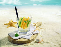 Gin or vodka cocktail on a tropical beach Stock Photography