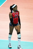 Gina mambrù. The dominican volleyball player gina mambrù with the dominican republic national team at bari for a world cup volley match royalty free stock photos