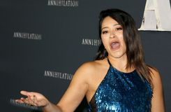 Gina Rodriguez. At the Los Angeles premiere of `Annihilation` held at the Regency Village Theater in Westwood, USA on February 13, 2018 Royalty Free Stock Photo