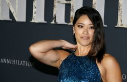 Gina Rodriguez. At the Los Angeles premiere of `Annihilation` held at the Regency Village Theater in Westwood, USA on February 13, 2018 Stock Photos