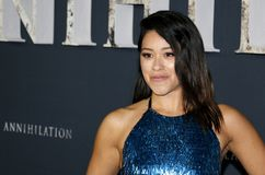 Gina Rodriguez. At the Los Angeles premiere of `Annihilation` held at the Regency Village Theater in Westwood, USA on February 13, 2018 Stock Photography