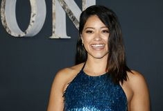 Gina Rodriguez. At the Los Angeles premiere of `Annihilation` held at the Regency Village Theater in Westwood, USA on February 13, 2018 Stock Image