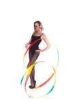 A ginasta com uma fita Imagens de Stock Royalty Free