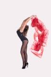 A ginasta com uma tela a céu aberto Fotografia de Stock Royalty Free