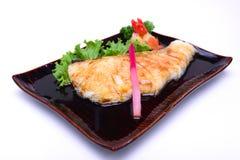 Gindara Teriyaki,烤鳕鱼用酱油,被隔绝  免版税库存照片