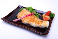 Gindara Teriyaki, peixe de bacalhau preto grelhado com molho de soja, isola Foto de Stock